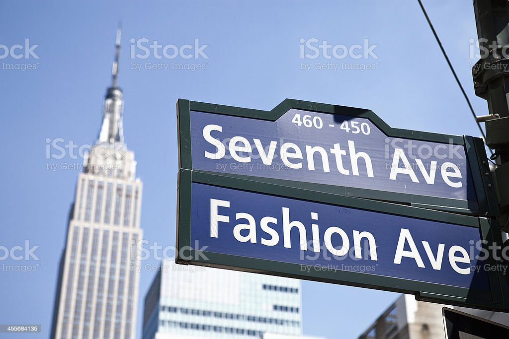 7th Ave and Empire State Building, NYC stock photo