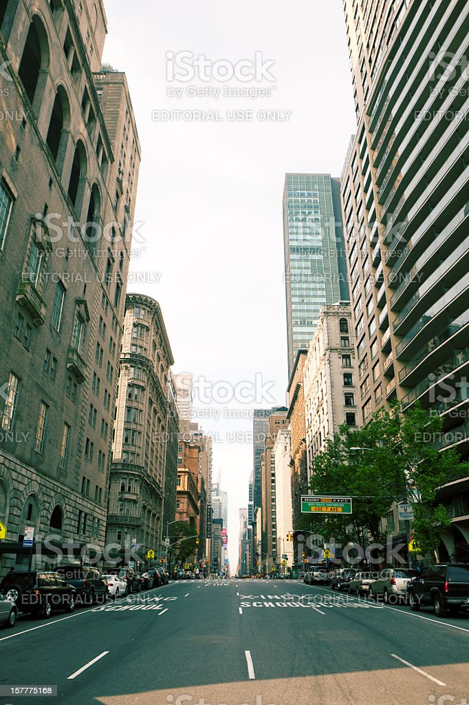 7th ave from Central park to time square stock photo