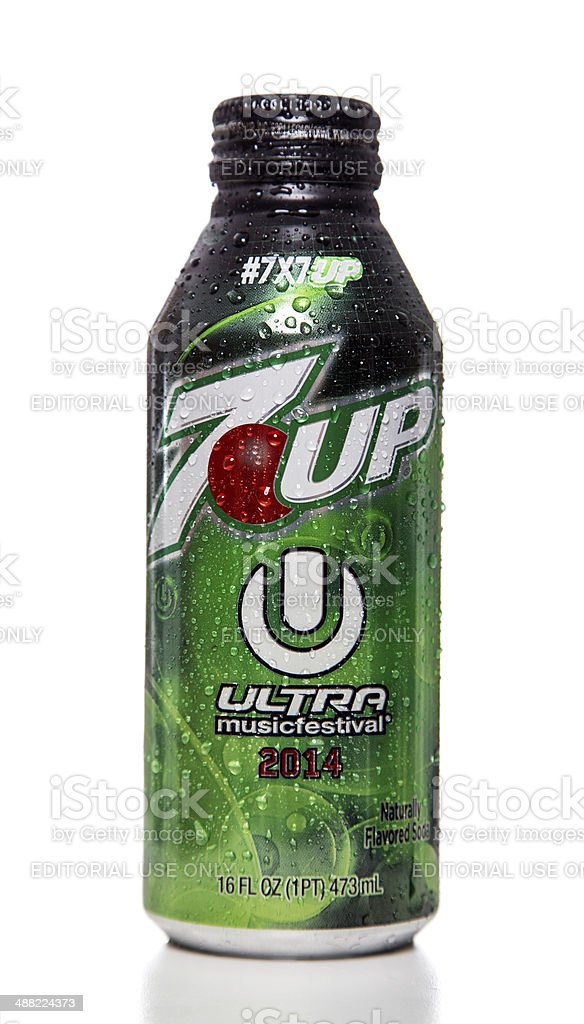 7up Ultra music festival 2014 can stock photo