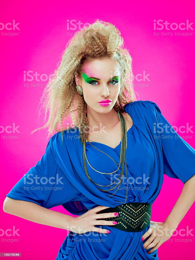 80s style beautiful diva stock photo