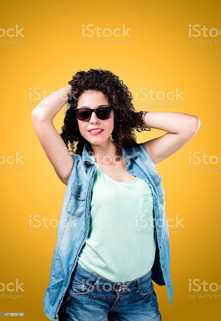 80s style girl royalty-free stock photo