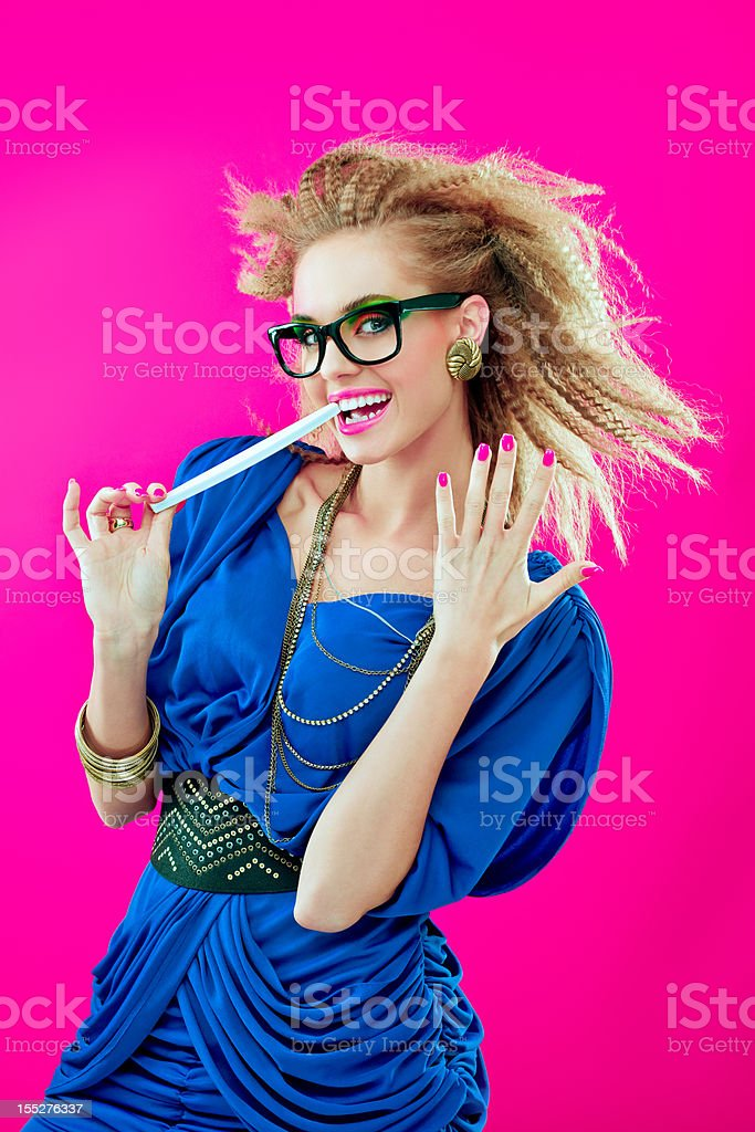 80s style girl with nailfile stock photo
