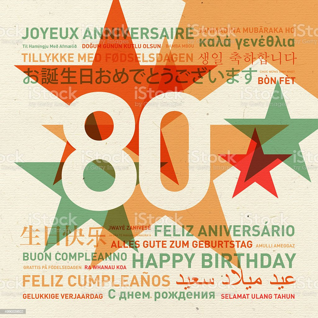 80th anniversary happy birthday card from the world stock photo