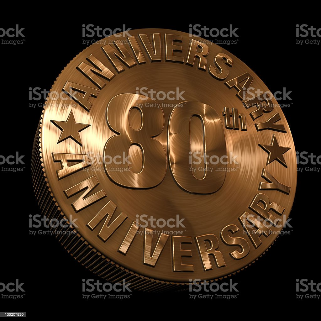 80th anniversary medal stock photo