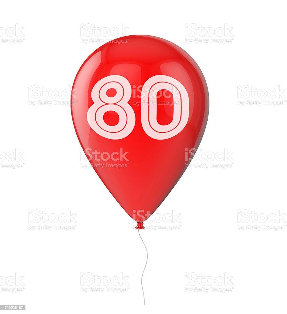 80th Birthday balloon stock photo