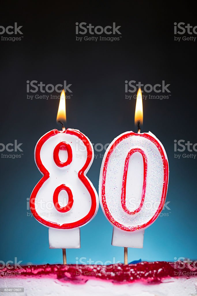 80th Birthday candles stock photo