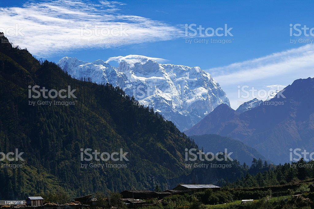 8163m Manaslu, Himalayas Nepal royalty-free stock photo