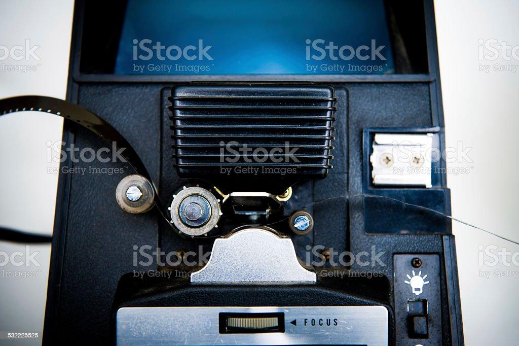 8mm editing machine detail with film stock photo