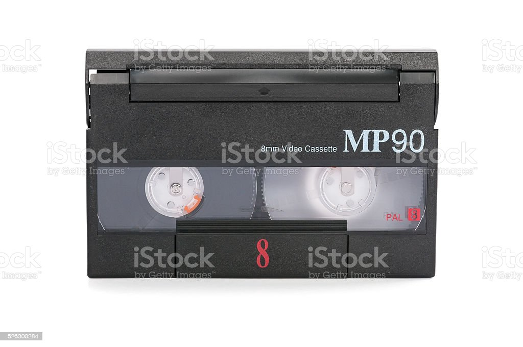 8mm video cassette on white background stock photo