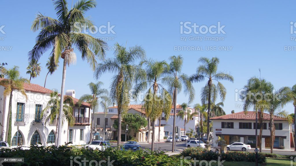 SANTA BARBARA, CALIFORNIA, USA - OCT 8th, 2014: Historic county courthouse in sunny southern CA stock photo