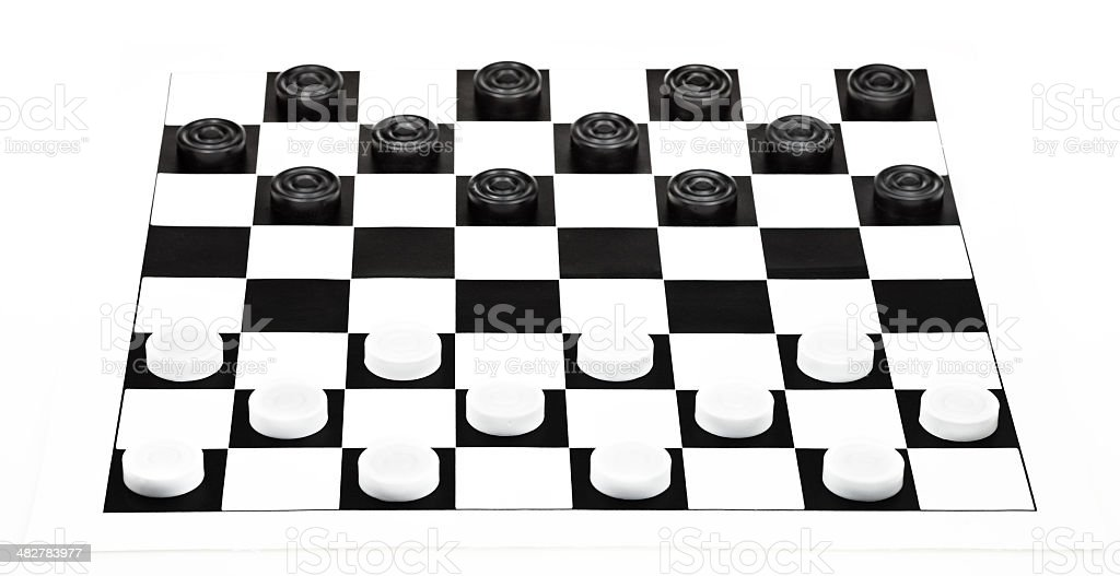 8x8 checkers board isolated on white background stock photo