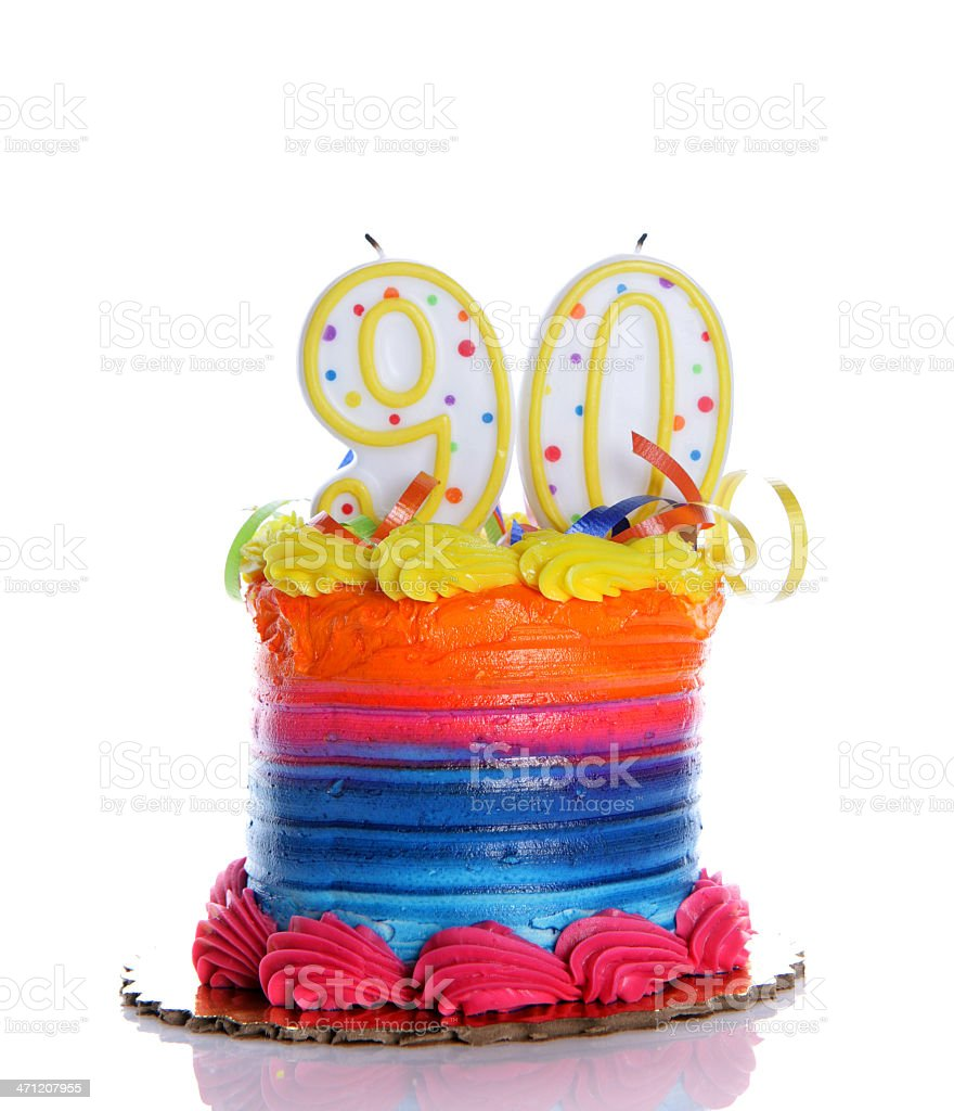 90th Birthday Cake stock photo
