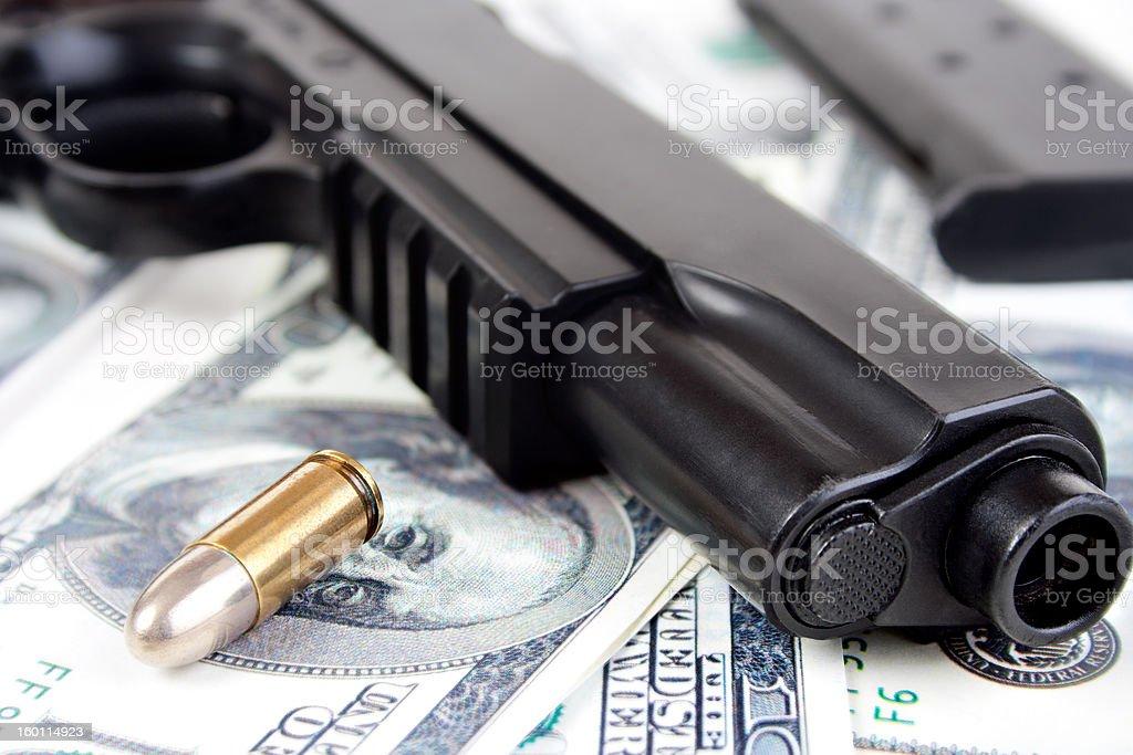 9mm bullet and handgun closeup royalty-free stock photo