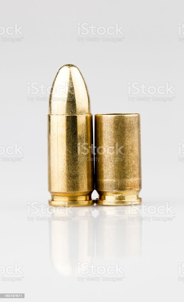 9mm bullet and shell royalty-free stock photo