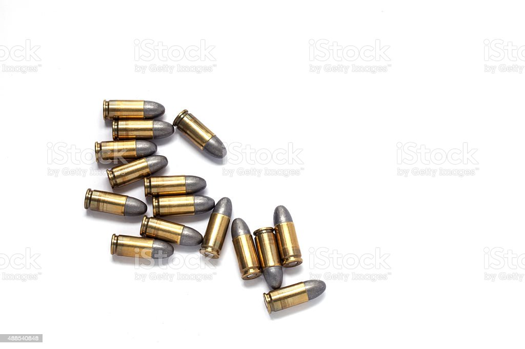9mm bullet for a gun isolated on white background. stock photo