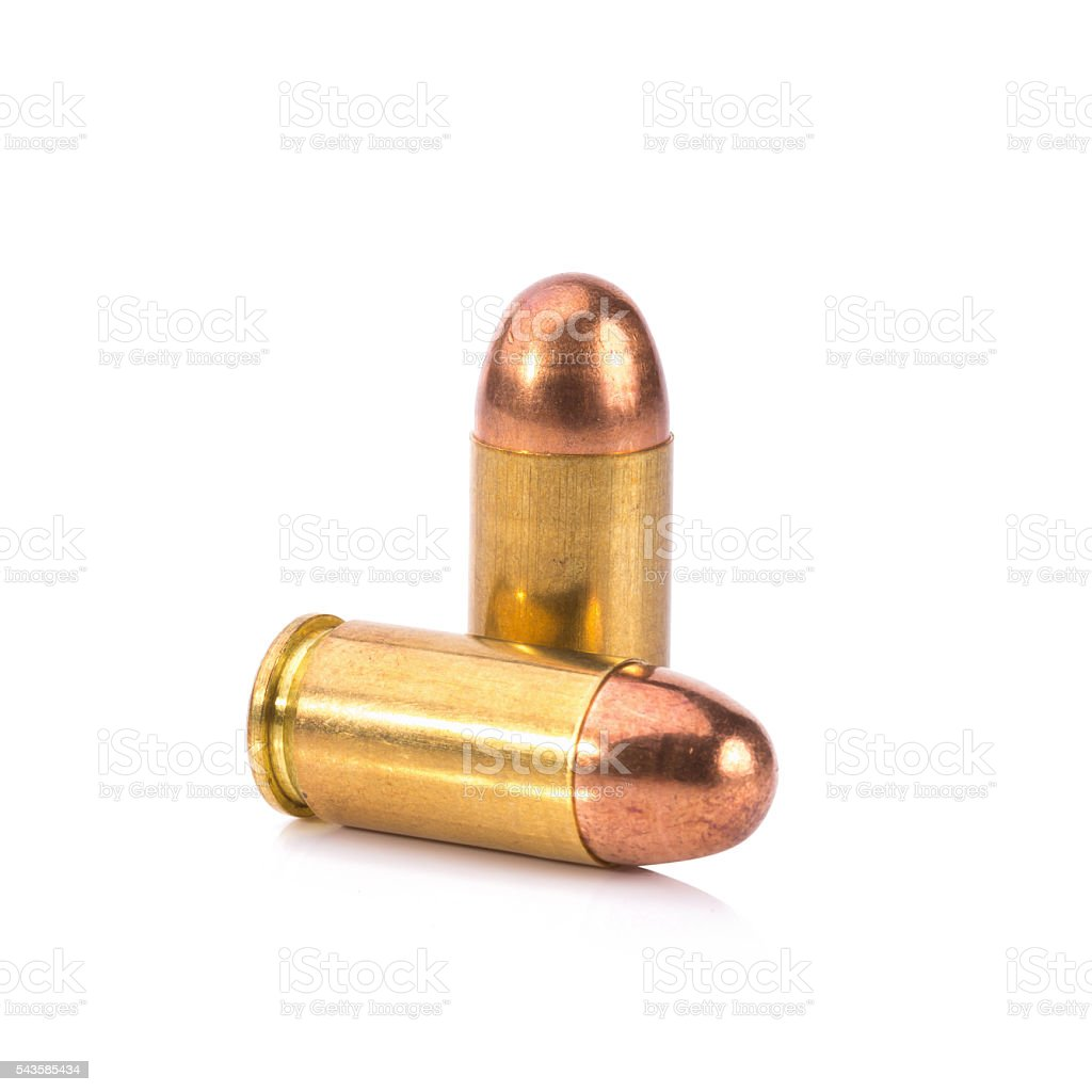9mm bullet for a gun isolated on white background stock photo