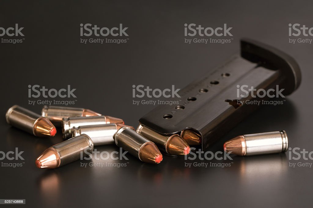 9mm Bullets and Magazine stock photo