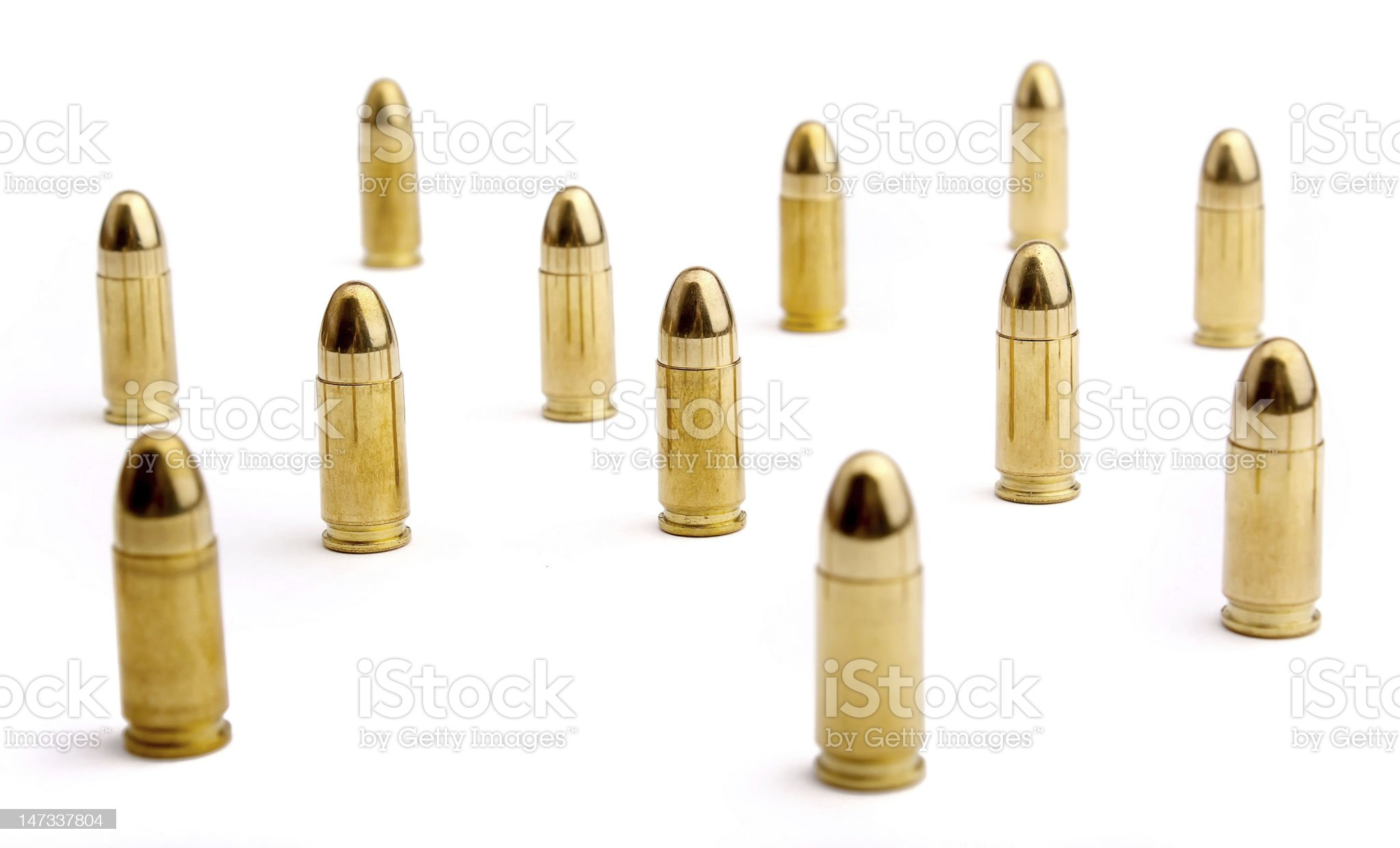 9mm bullets on white royalty-free stock photo