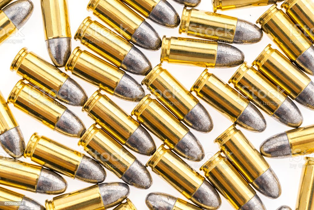 9mm bullets stock photo