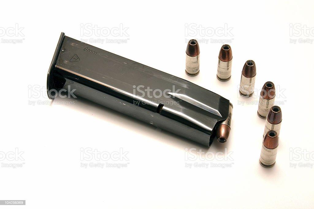 9mm handgun magazine stock photo