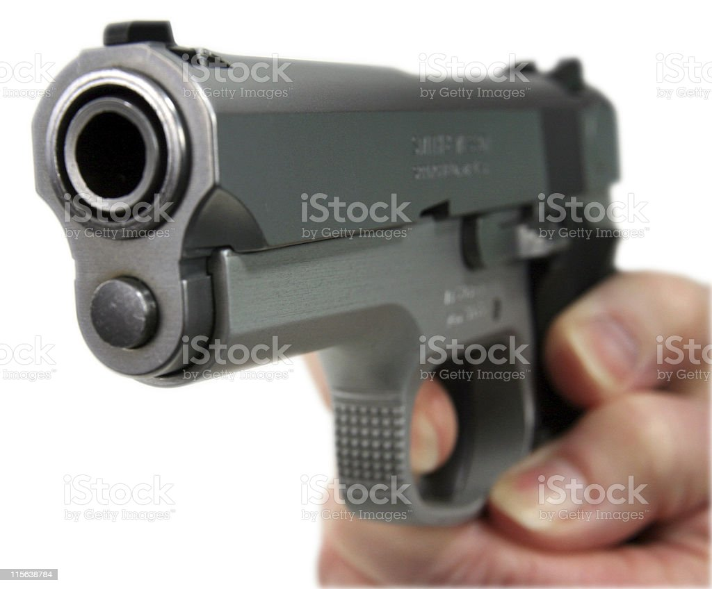 9mm pistol isolated on white with clipping path royalty-free stock photo