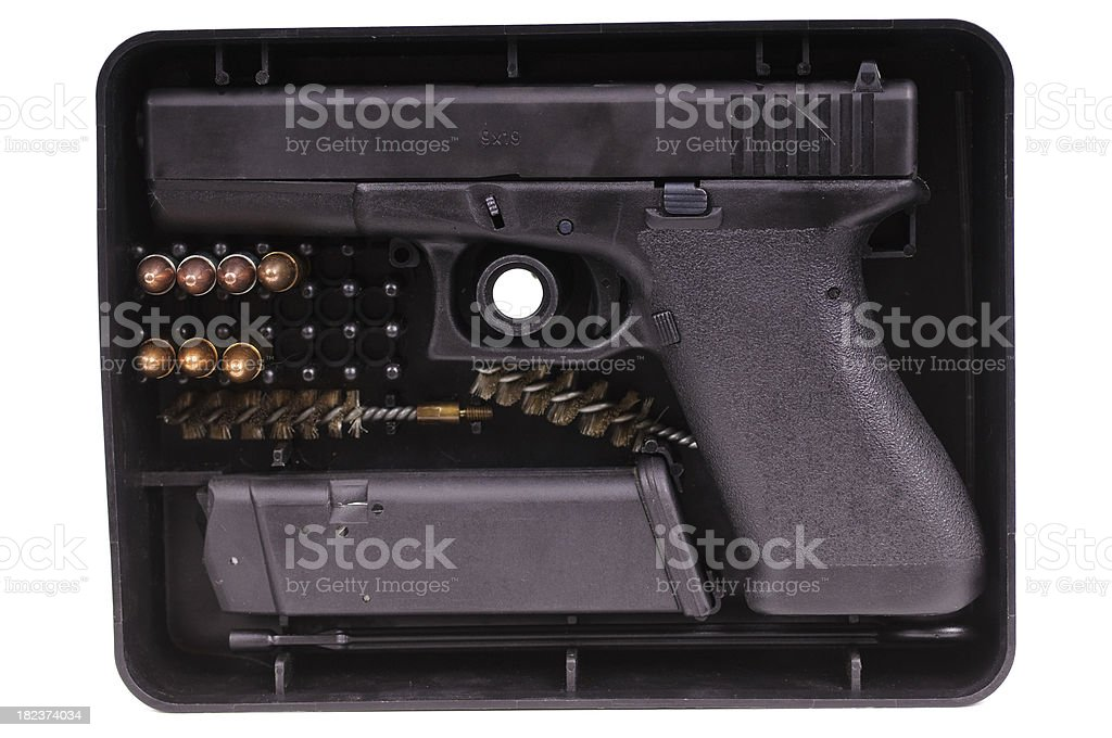 9mm Semi-Automatic-Pistol in storage box stock photo