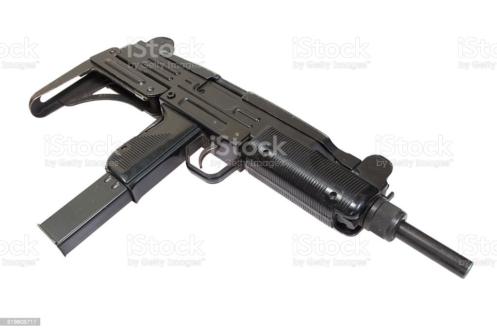 9mm submachine gun isolated on white stock photo