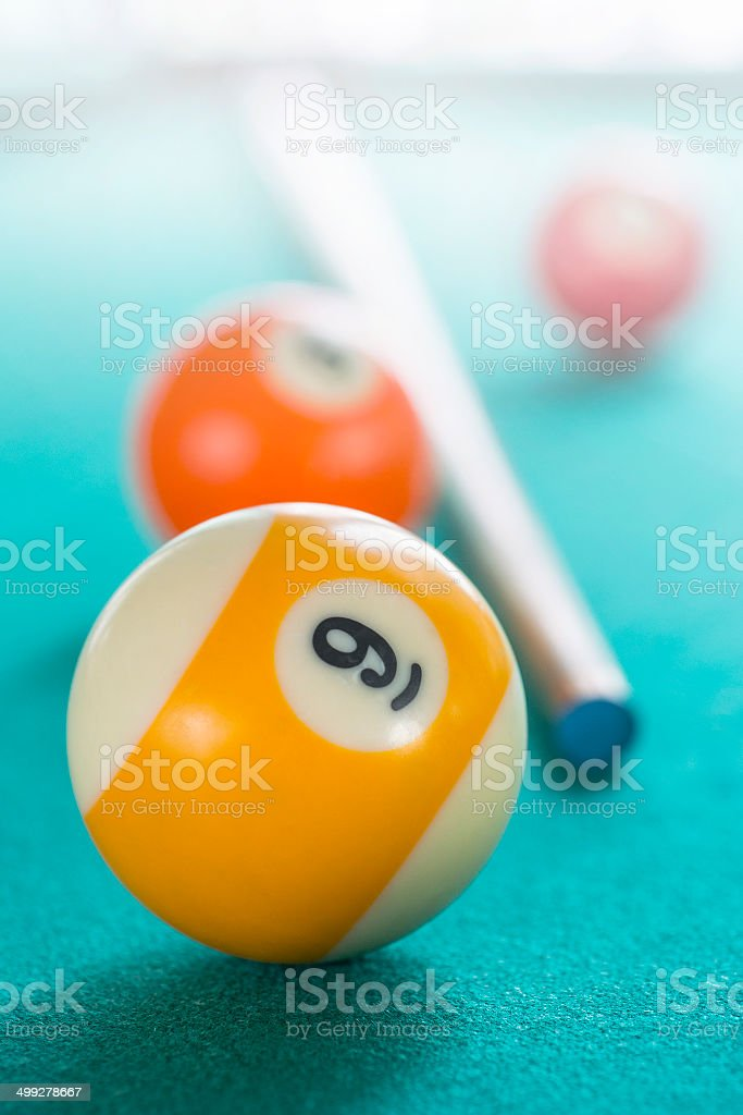 9th Billiard Ball On Pool Table royalty-free stock photo