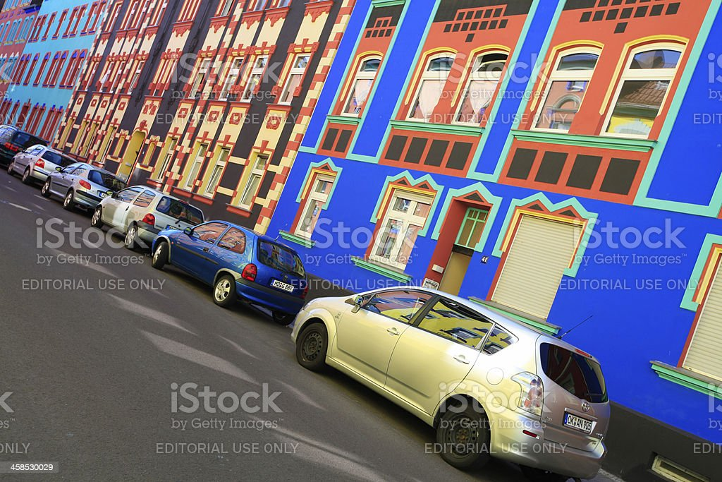 _Colorful housis in Otto-Richter Street, Magdeburg stock photo