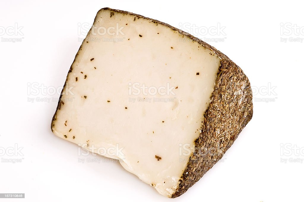 a big sliced chunk of Manchego cheese royalty-free stock photo