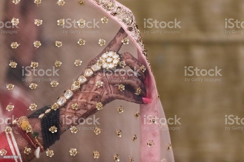 a bride's hand stock photo