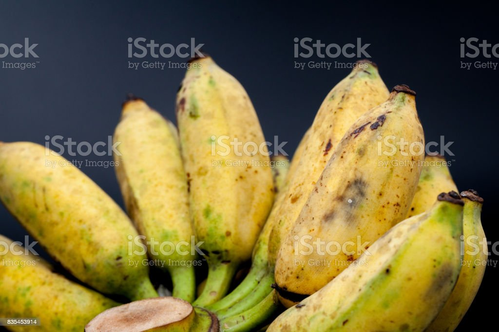 a bunch of bananas on black background stock photo