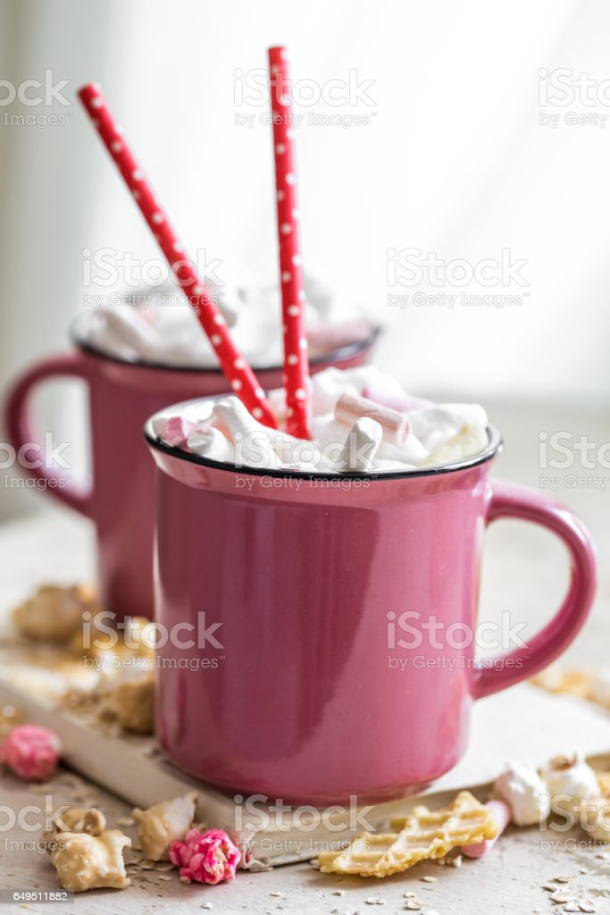 a delicious Cup of cocoa with marshmallows and straws stock photo