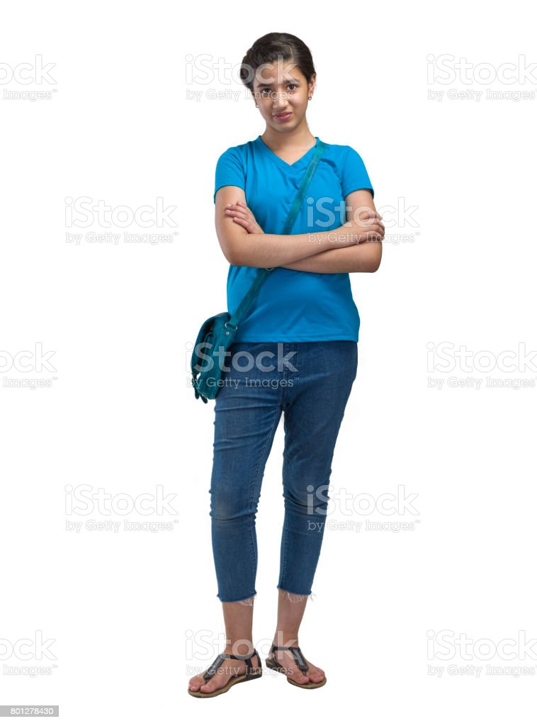 a girl with sling bag stock photo