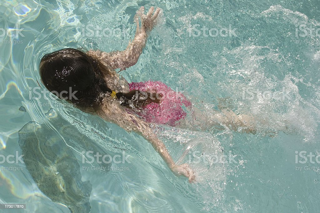 a little girl in a swimming pool royalty-free stock photo