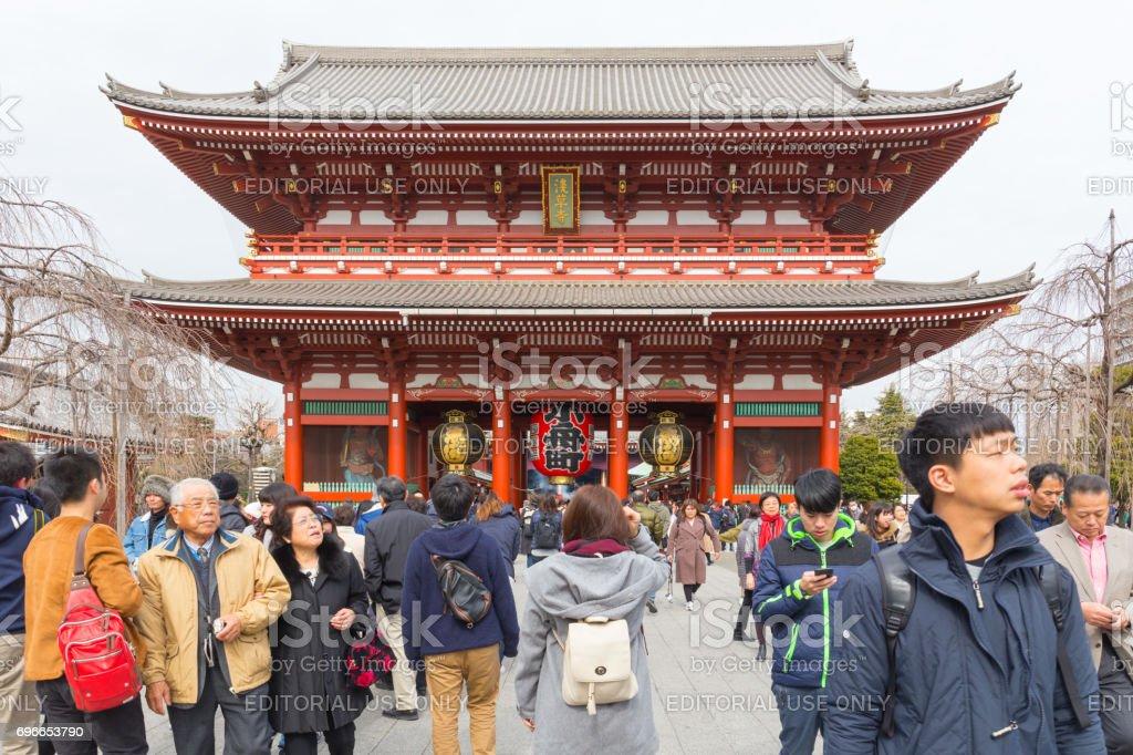 a lot of tourists go to Sensoji temple to see Hozomon, Treasure house gate February 18, 2017 in Tokyo, Japan stock photo