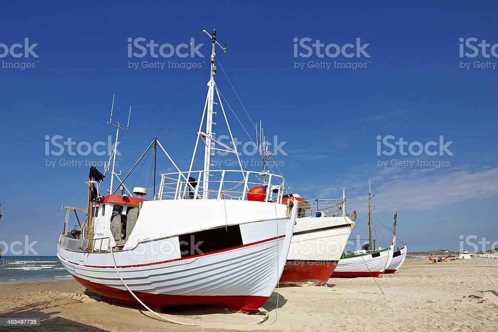a photo of fishing boats at the beach (Denmark) royalty-free stock photo