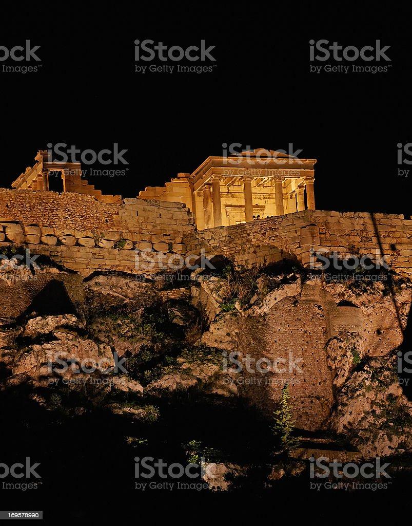 a photo of Parthenon, Athens Acropolis by night royalty-free stock photo