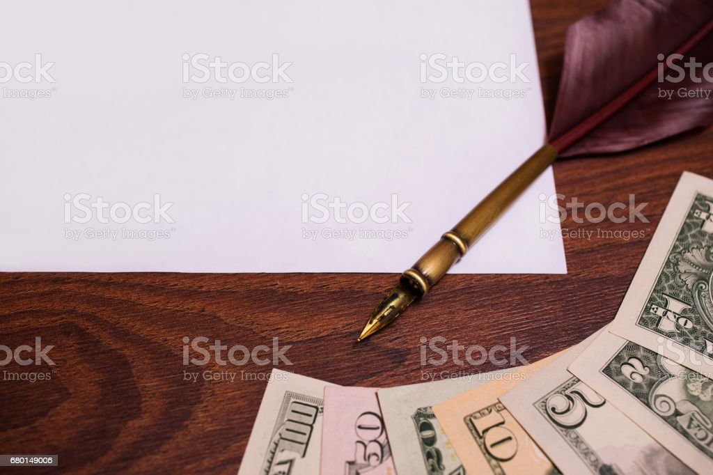 a place for writing, printing place, fountain pen, dollars and copy space stock photo