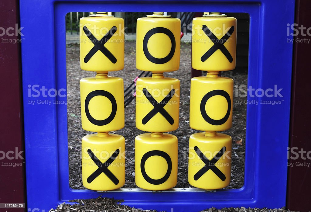 a playground game of a life size version on tic tac toe stock photo