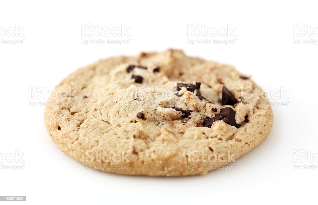 a single chocolate chip cookie royalty-free stock photo
