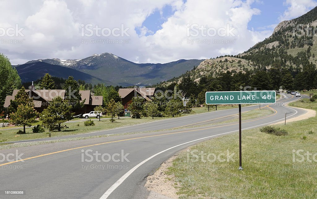a street in the Rocky Mountains, Colorado  stock photo
