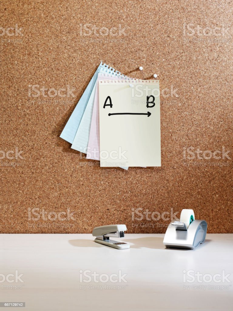 'a to b' reminder note stock photo