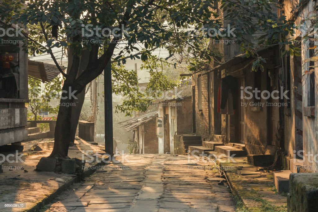 a traditional village and house stock photo