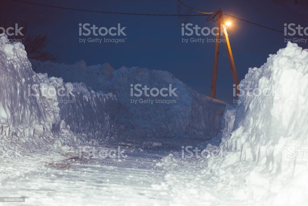a wall of snow stock photo