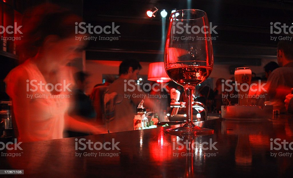 a warm red bar with glass royalty-free stock photo