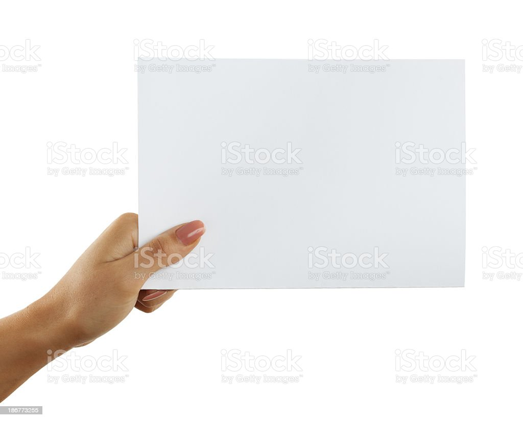 a5 paper in woman hand on white background stock photo