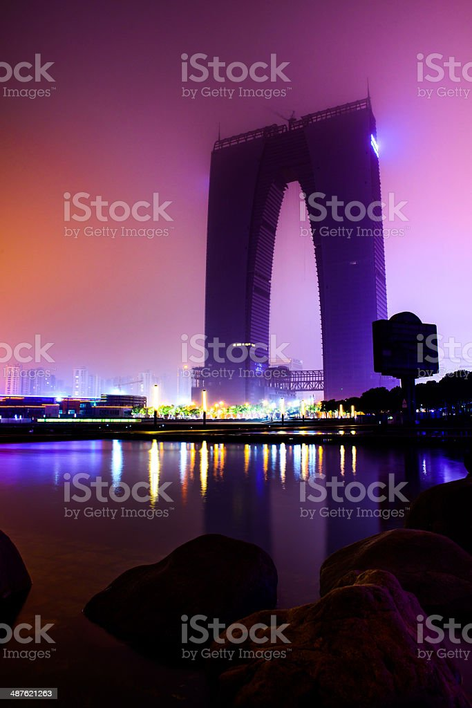 a_building under construction at night stock photo