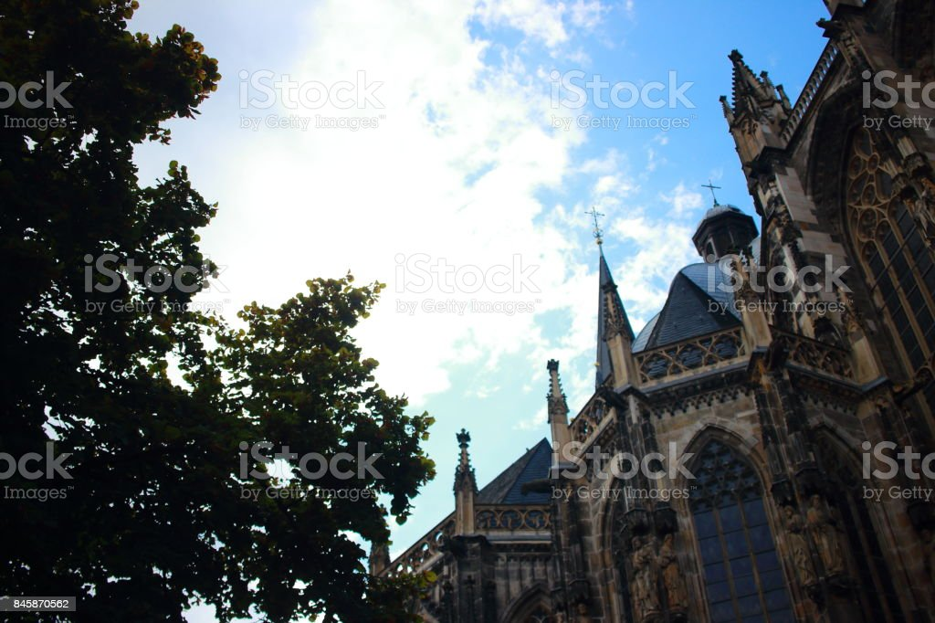 Aachen Cathedral and other historical buildings stock photo