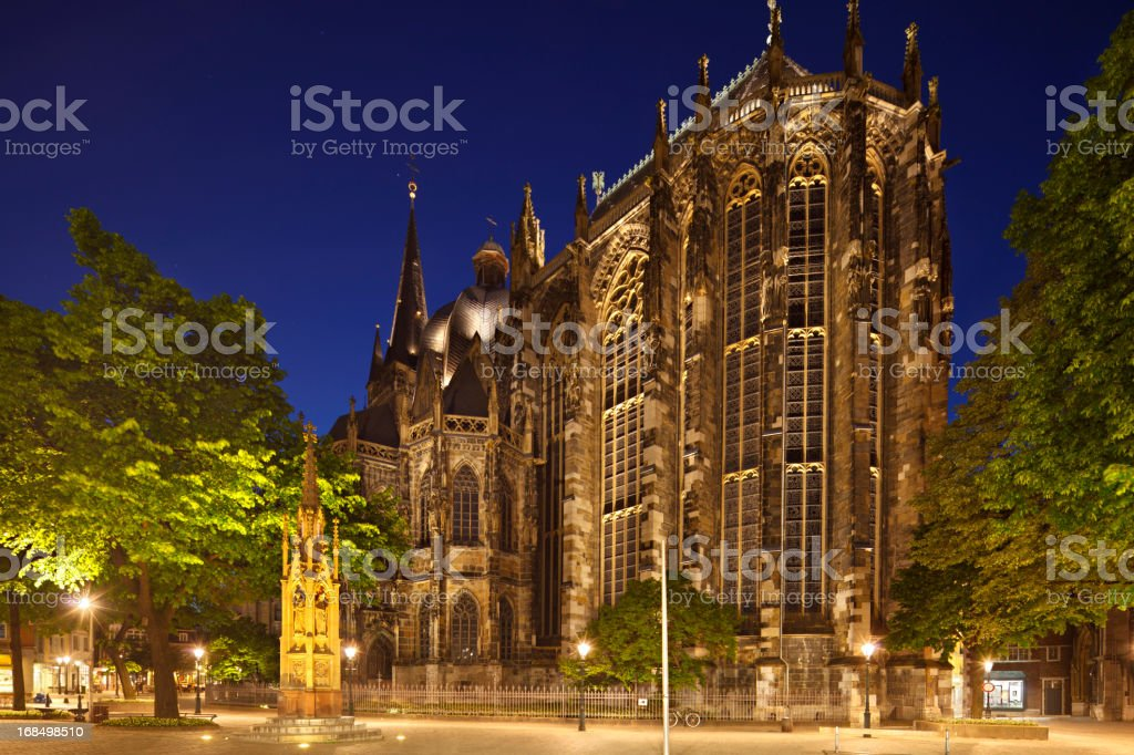 Aachen Cathedral At Night stock photo